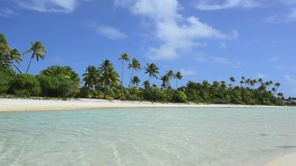 Landscape of of Maina Island in Aitutaki Lagoon