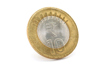 The new Indian ten rupee coin isolated