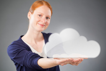 Businesswoman Promoting a Cloud Service
