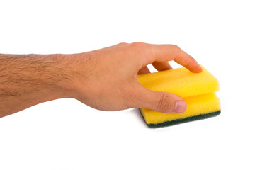 Hand Holding Cleaning Sponge