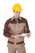 Construction Worker Holding Digital Tablet