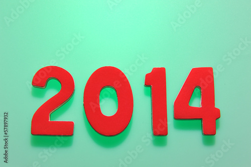 The year 2014 in wooden numbers together