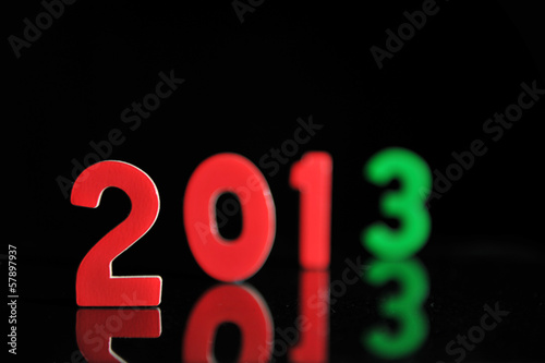 The year 2013 in wooden numbers together