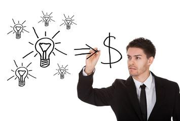 Convert ideas into cash concept