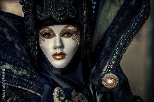 VENICE, ITALY - FEBRUARY 8: Unidentified person in Venetian mask