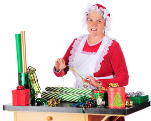 Mrs. Clause Wrapping Gifts