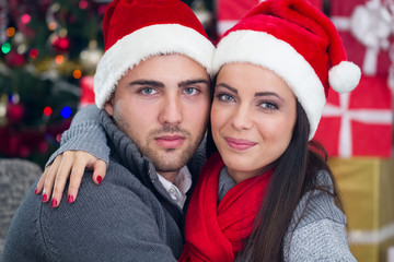 Happy couple  at Christmas night