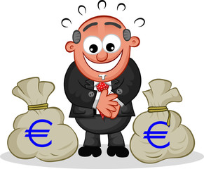 Boss Cartoon with Money Bags