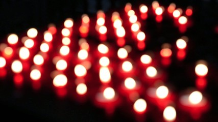 Lots of red church candles
