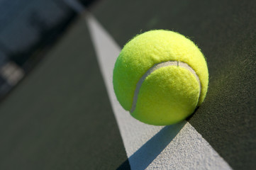 Tennis Ball on the Court, angled