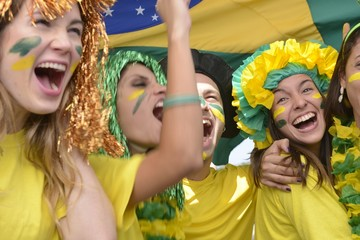 Brazilian soccer fans commemorating victory