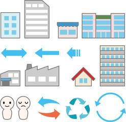 企業や商店の建物と矢印
