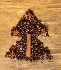 Christmas tree  symbol of coffee bean, cinnamon and anise