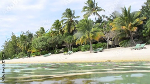 Landscape of of Arutanga Island in Aitutaki Lagoon Cook Islands