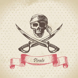 Pirate skull. Hand drawn illustration
