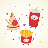 Cute fast food, pizza