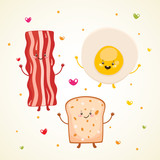 Cute breakfast bacon, fried egg, toast