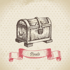 Treasure chest. Hand drawn illustration