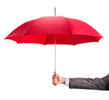 Hand with an red umbrella