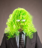 Businessman with a green wig