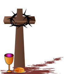 Communion - Bread,wine,chalice and cross