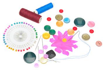 set of buttons and sewing supplies