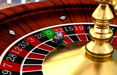 Weltkugel als Spielball beim Roulette