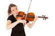 Die schöne junge Frau spielt auf einer Geige