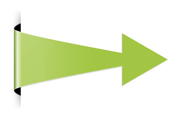 The green folded arrow