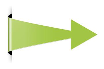 The green folded arrow