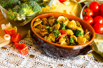 Italian pasta, orecchiette with broccoli, closeup