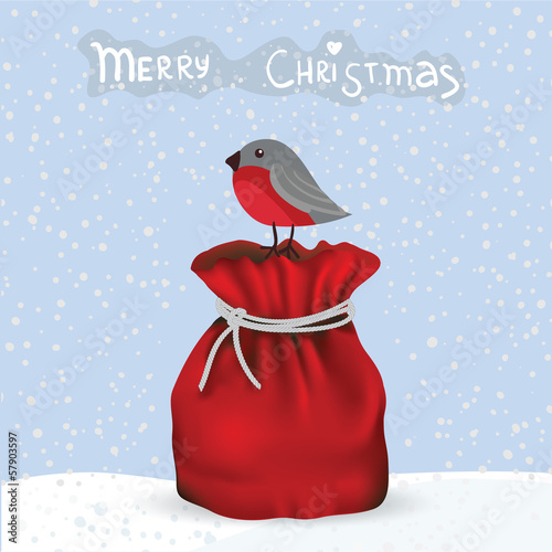 Winter card with bird and gift bag