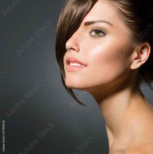 Stylish Fringe. Teenage Girl with Short Hair Style