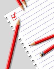 Разлинованный лист бумаги и карандаши.Векторная иллюстрация