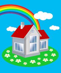 Частный дом на фоне  голубого неба и радуги.