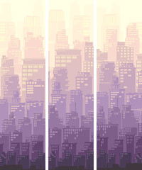 Vertical banner of big city and sun.