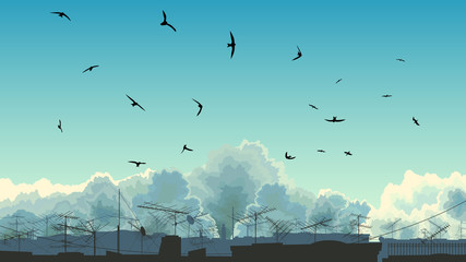 Illustration of sky, birds and roofs.