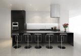 Contemporary minimal black and white kitchen with stools