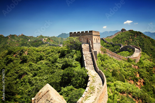 Poster Chinese Muur The Great Wall of China near Jinshanling on a sunny summer day