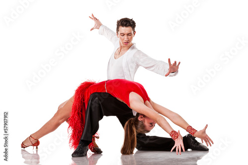 Sensual Latino dancers in action. Isolated