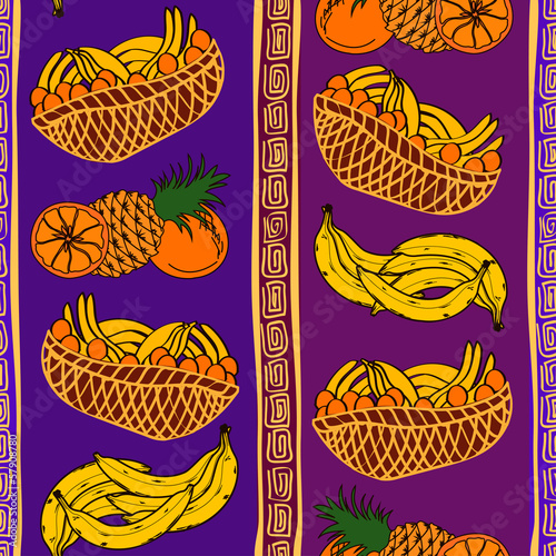 Ethnic seamless pattern of fruits