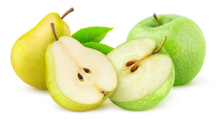 Apples and pears isolated on white