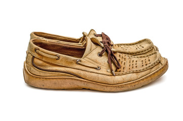 Pair of old  moccasin side view