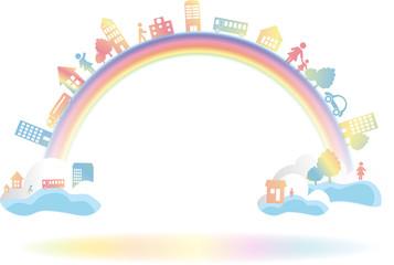 虹を渡る 地球と街と人