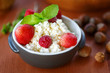 cottage cheese with fruit and nuts