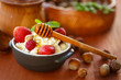 cottage cheese with fresh fruit and honey