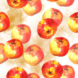 Quadro Watercolor seamless background with apples