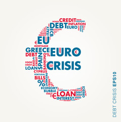 Euro sign vector image, concept of collapse or crisis