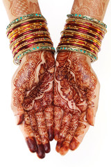 Woman hands with henna design