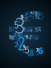 Euro sign vector font from numbers
